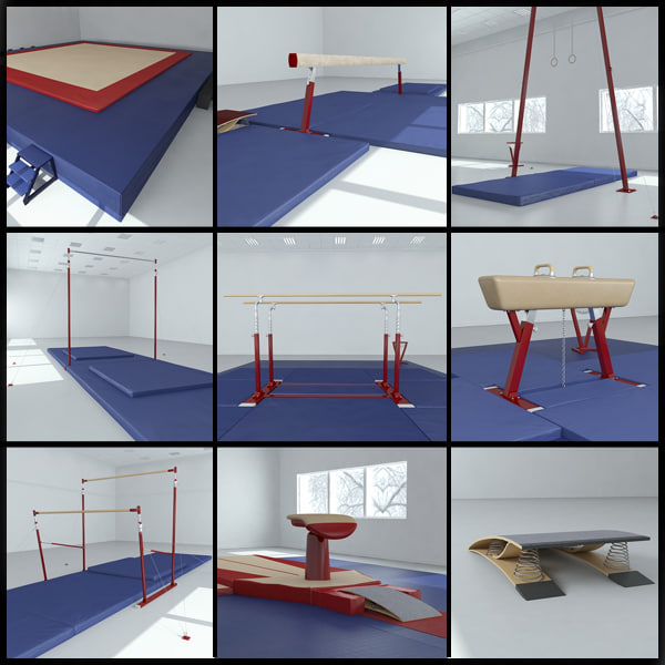 3D gymnastics equipment pack model