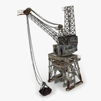 old industrial crane 3D model