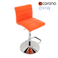 Orange Lush Adjustable Height Swivel Armless Bar Stool