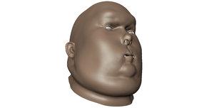 obese male head mesh model