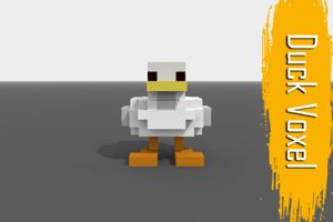 voxel duck low-poly 3D model
