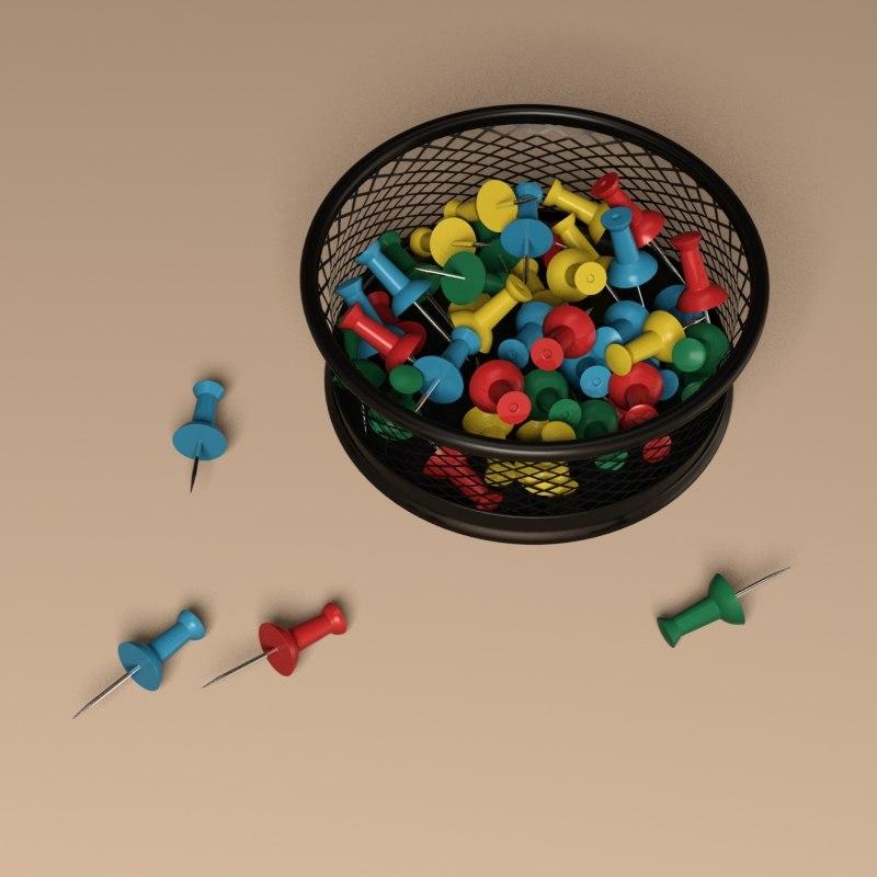 pushpins pins 3D model