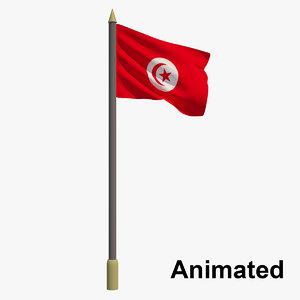 3D flag tunisia - animation