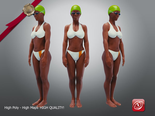 swimmingpoolgirlbcasualc girl swimming 3D model