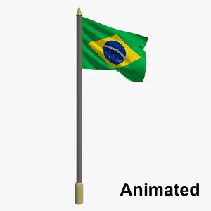 flag brazil - animation 3D model