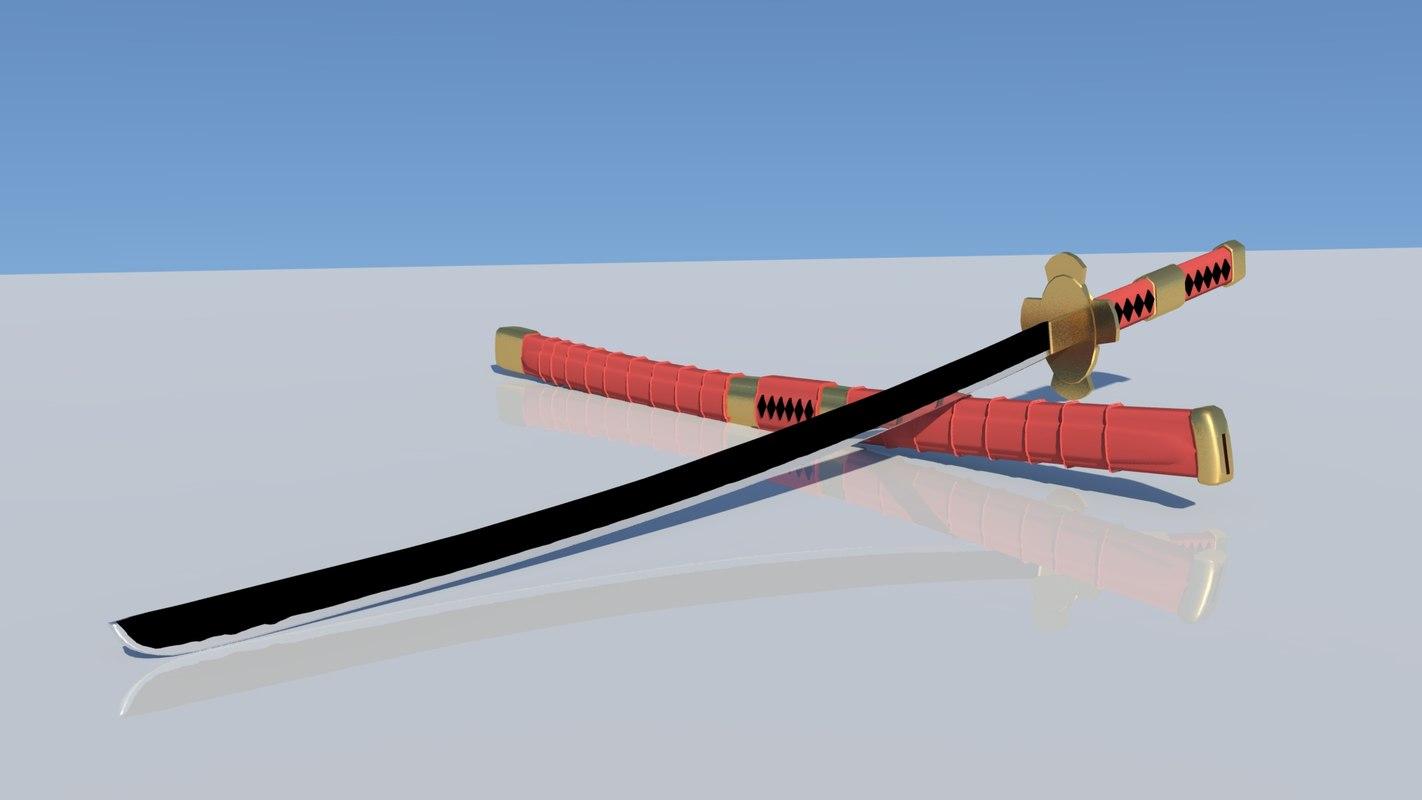 sandai kitetsu swords zoro 3D