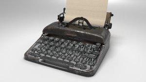 3D typewriter model