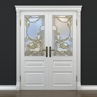 3D door stained-glass doorway