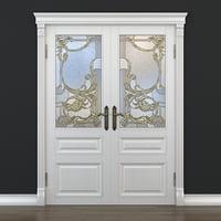 3D door stained-glass doorway