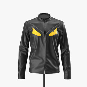 3D realistic leather jacket fendi model