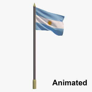 3D model flag argentina - animation