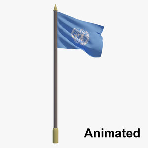 3D model flag united nations -