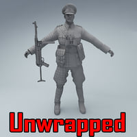 3D unwrapped wehrmacht officer soldier model
