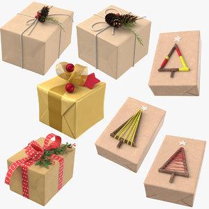 3D 7 christmas presents model
