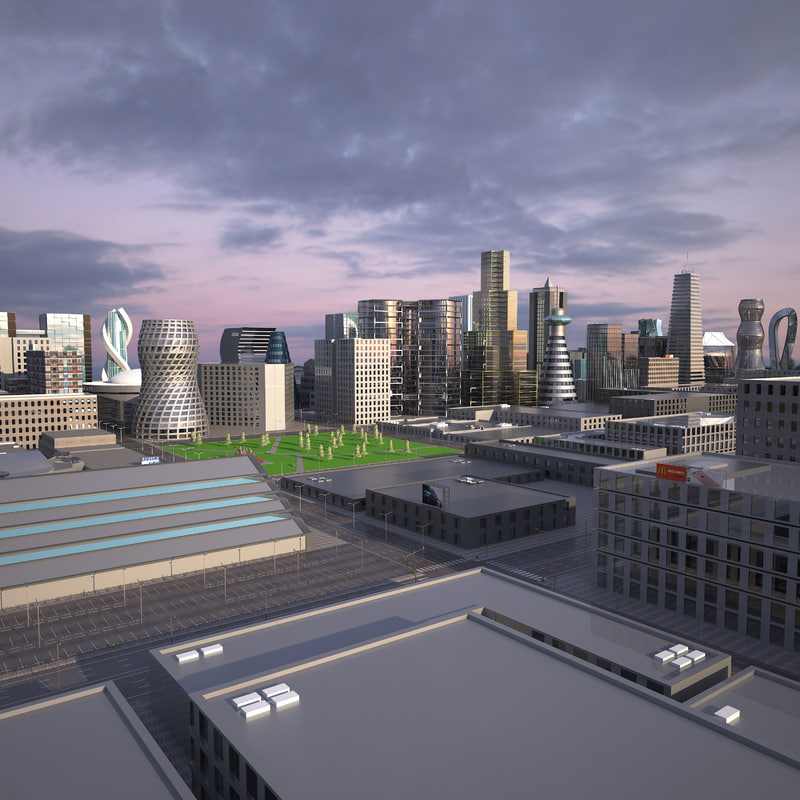 big city scene 3D model