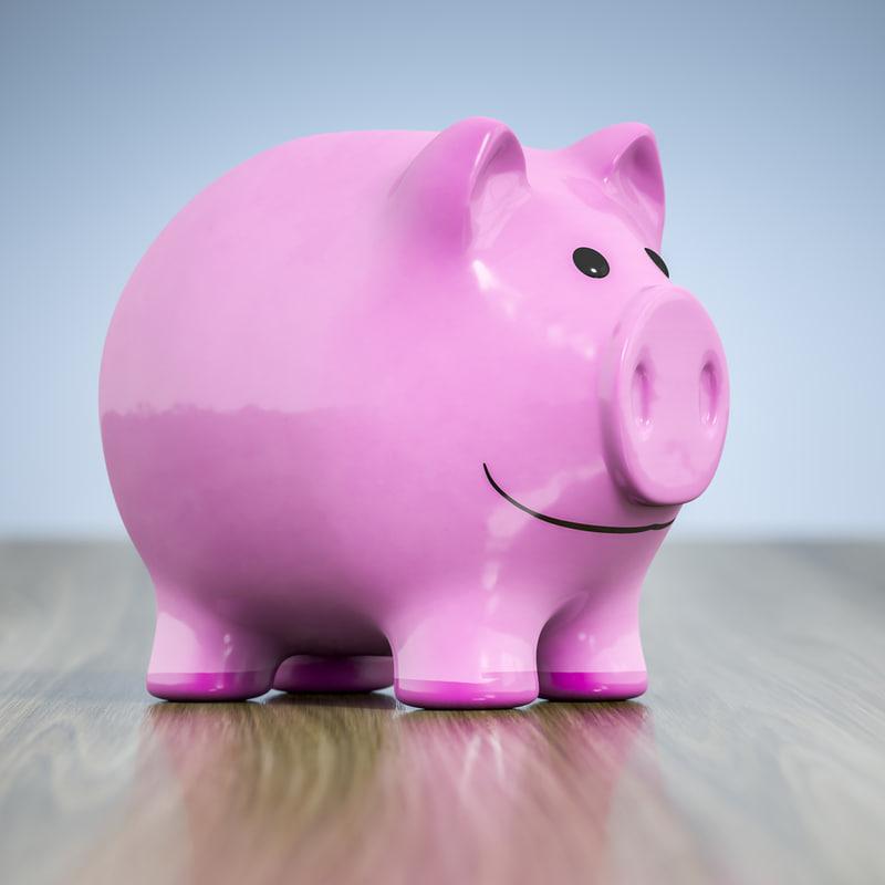 3D model typical smiling piggy bank