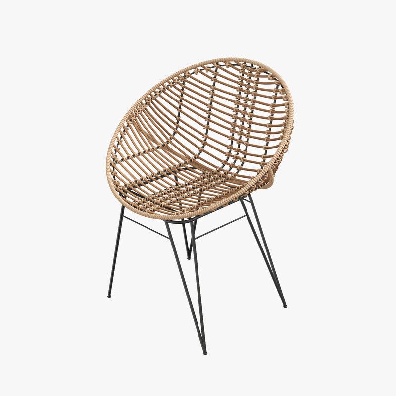3D model rattan nature modern chair