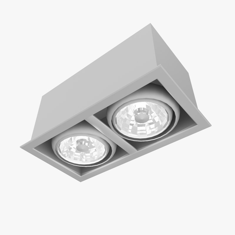 double spot light fixture 3D model