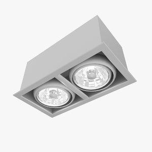 double spot light fixture 3D model