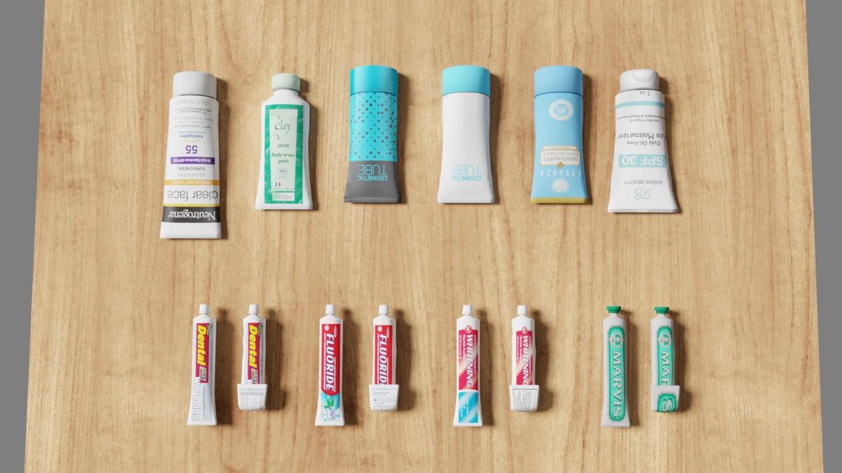3D beauty paste tubes