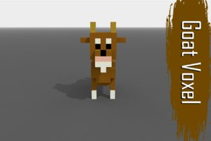 3D voxel goat low-poly