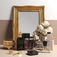 Antique Mirror, Flowers and Perfume Set