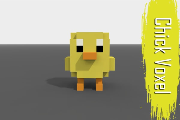 3D voxel chick low-poly