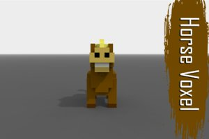 voxel horse low-poly 3D model