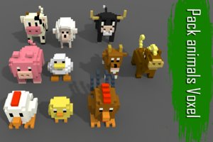 pack 10 voxel farm animals 3D model