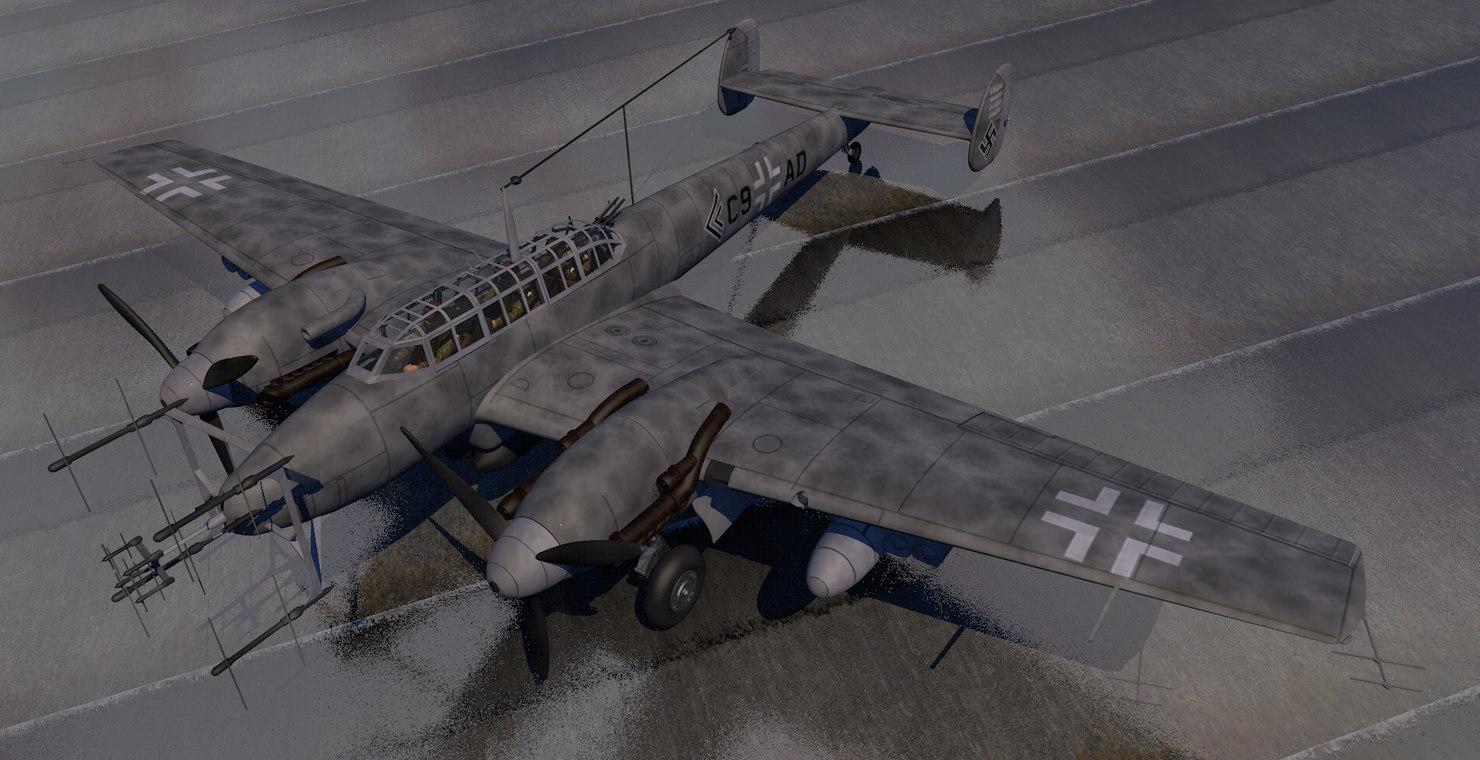 plane messerschmitt bf-110 g-4 3D model