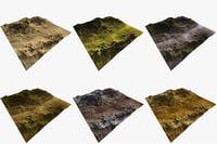 3D terrain 6 set model