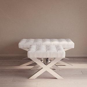 3D beekman stool bench eichholtz