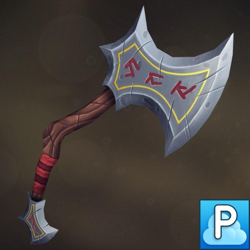 handpainted axe 3D model