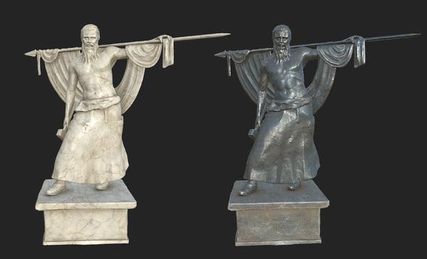 3D model bavarian warrior statue vr