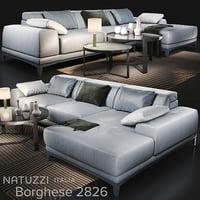 sofa natuzzi borghese 2826 3D model