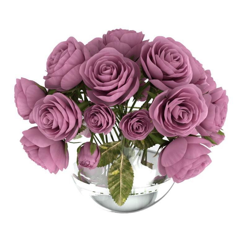 roses glass bowl 3D model