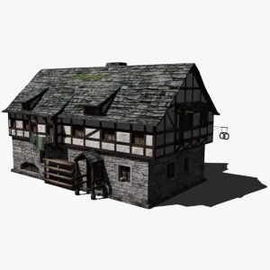 3D low-poly medieval bakery
