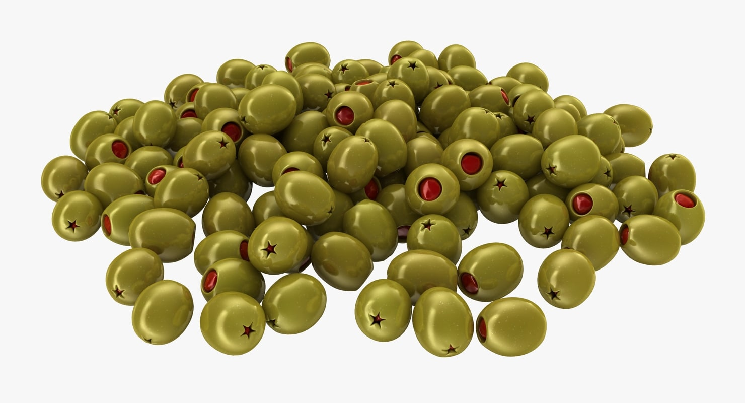 realistic pitted olives red 3D model