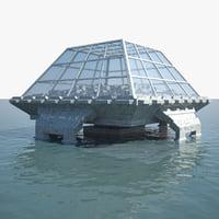 3D model ocean dome city