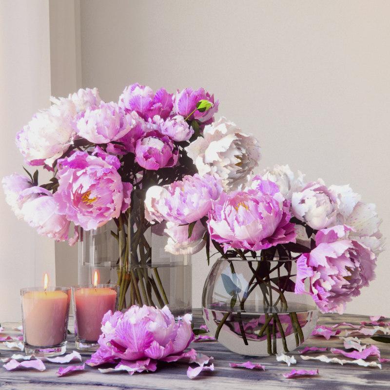 peonies bouquet 3D model