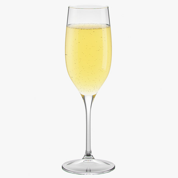 3D glass champagne model