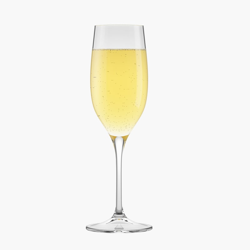 3D glass champagne model