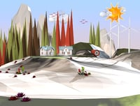 cartoon landscape 3D model
