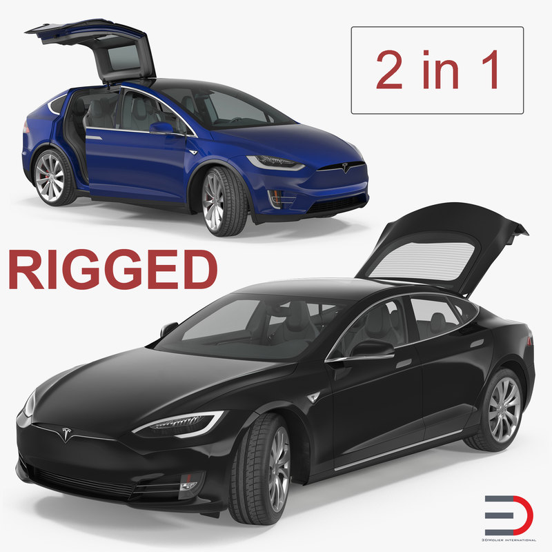 3D tesla rigged cars s