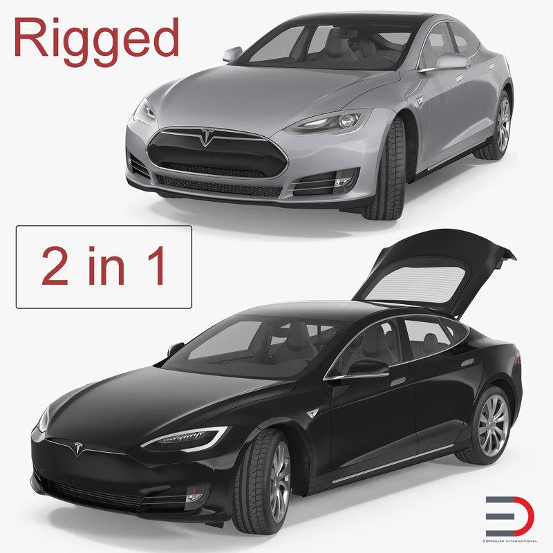 3D tesla s rigged modeled model