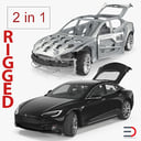 Tesla Model S and Frame Rigged Collection
