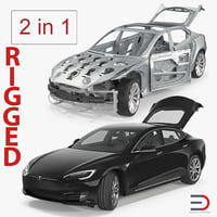 Tesla Model S und Frame Rigged Collection