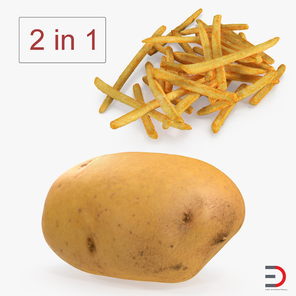 french fries raw potato 3D model