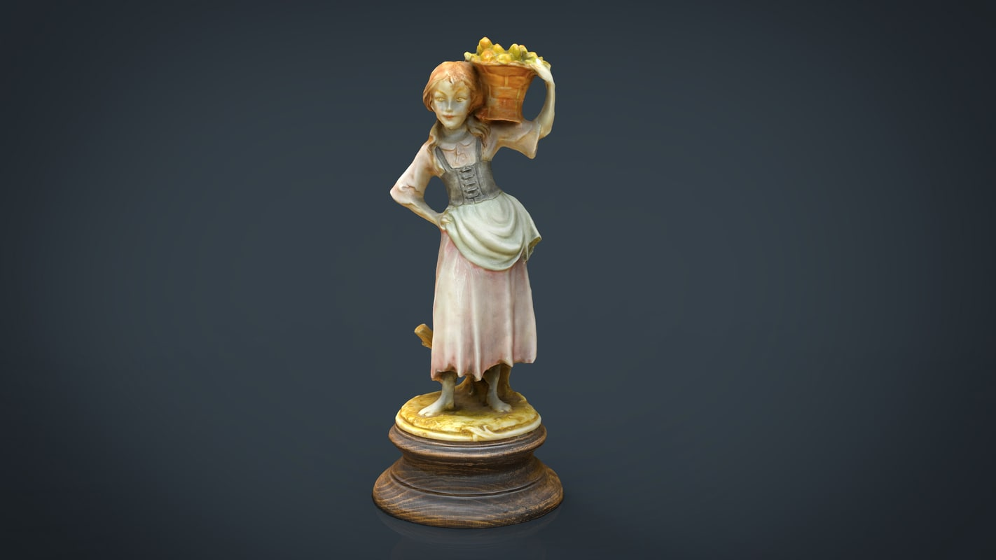 3D grape picker woman model