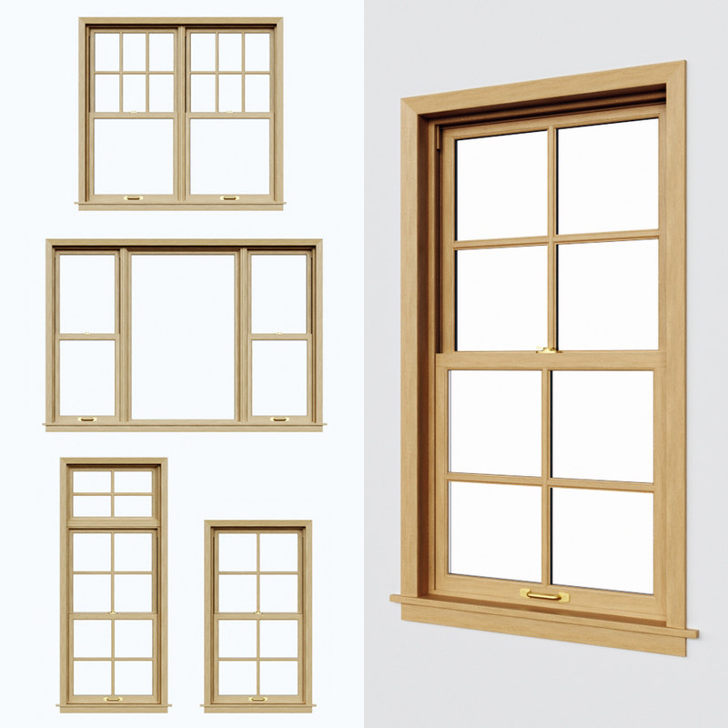 double hung windows 3D model